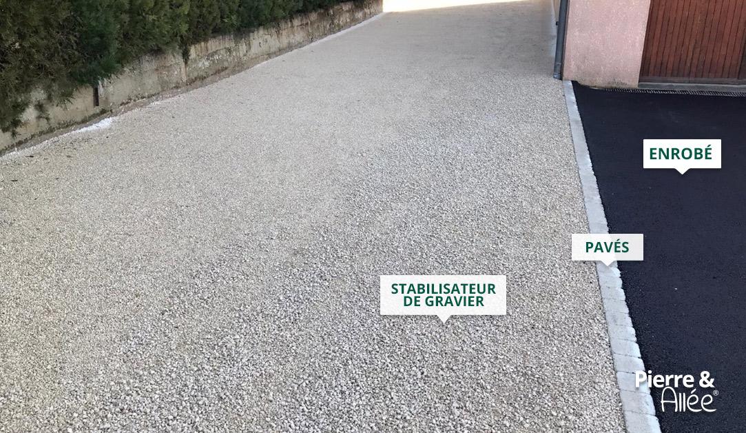 Accès de garage en stabilisateur de gravier et enrobé