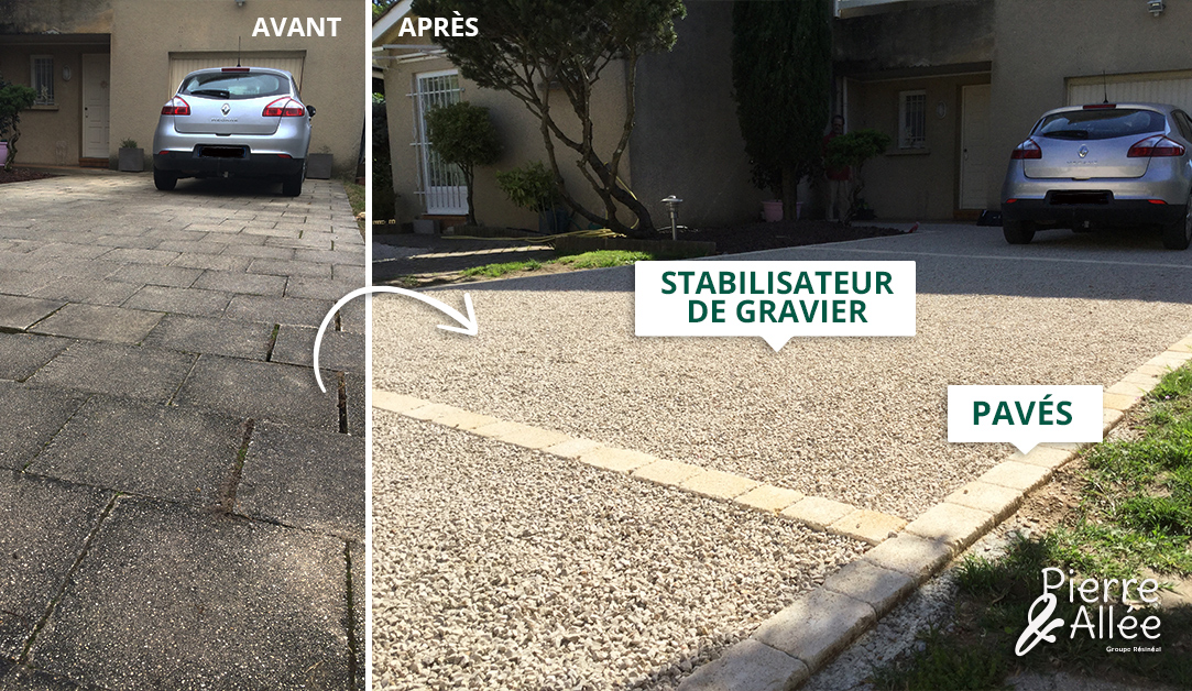 acces parking en stabilisateur de gravier