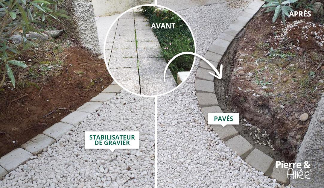 Aménagement Terrasse en stabilisateur de gravier et pavés pour bordure