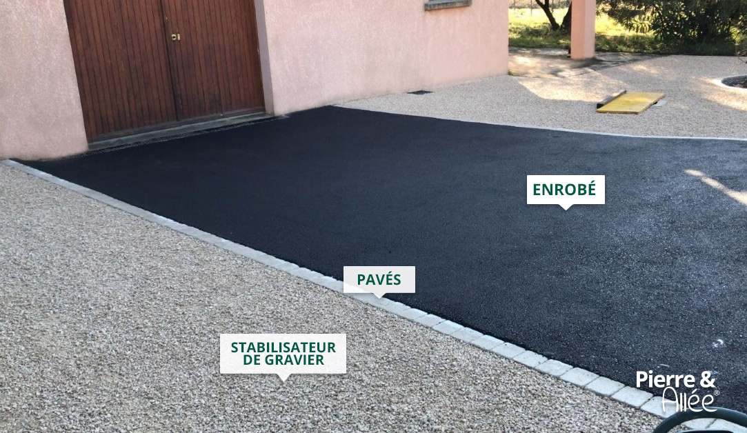 acces garage stabilisateur gravier et enrobe